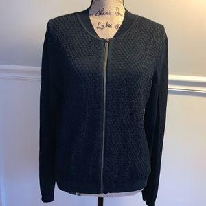 CABI Black Bomber Cardigan Sweater Sz.L